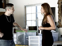 Grown-up charmer India Summer gives a massage to good-looking young dude